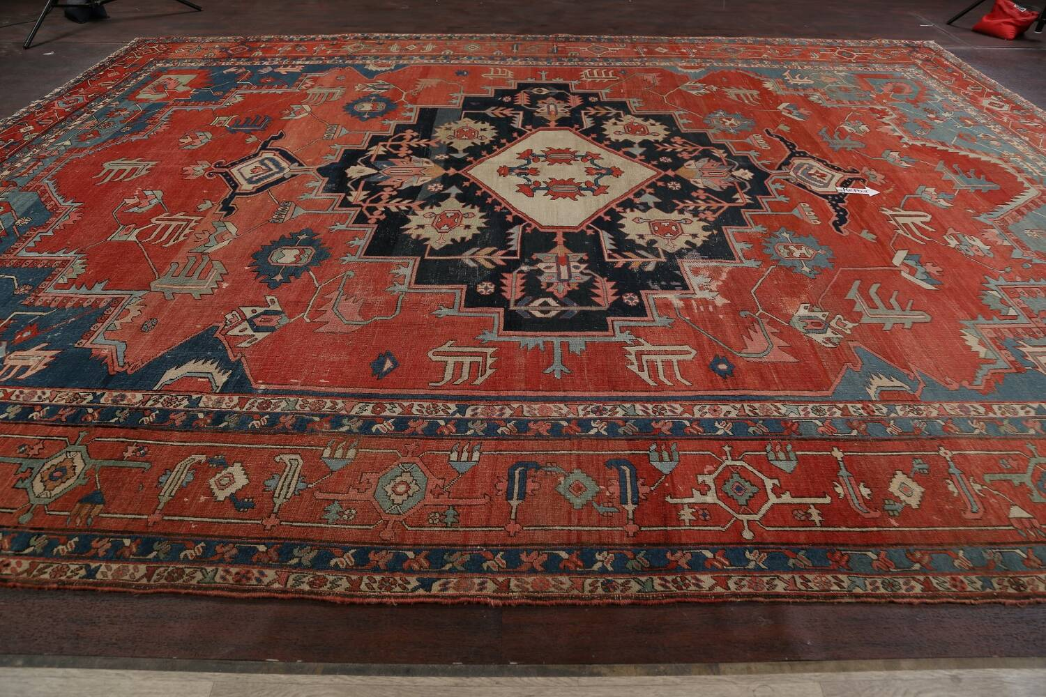 Pre-1900 Antique Heriz Serapi Vegetable Dye Persian Rug 12x16 image 18