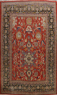 Pre-1900 Antique Sultanabad Vegetable Dye Persian Rug 12x15
