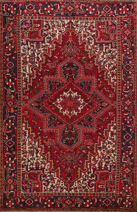 Geometric Red Heriz Persian Area Rug 8x10