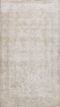 Muted Distressed Floral Tabriz Persian Area Rug 7x11