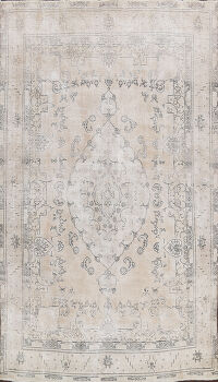 Distressed Floral Tabriz Persian Area Rug 8x11