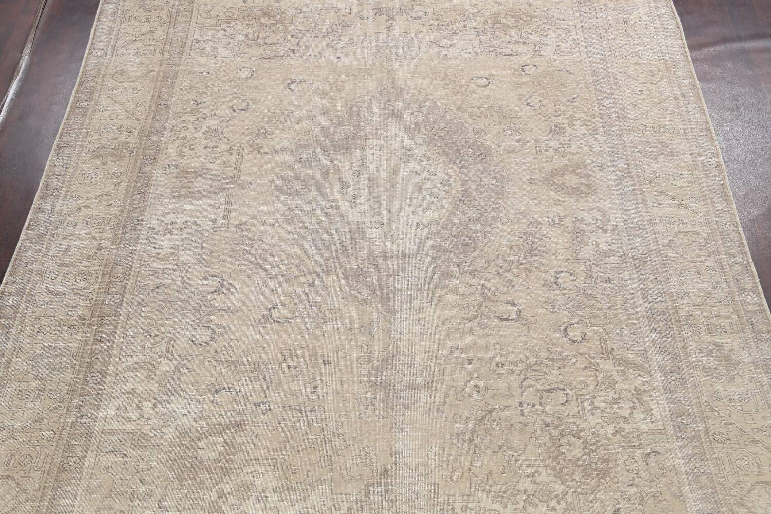 Muted Distressed Tabriz Persian Area Rug 9x12 image 3