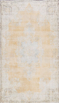 Muted Distressed Kerman Persian Area Rug 7x10