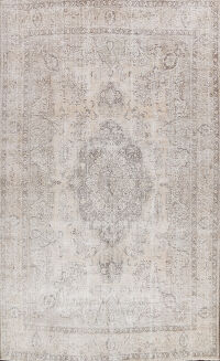 Distressed Floral Tabriz Persian Area Rug 9x12