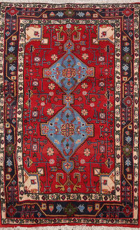 Geometric Red Bidjar Persian Area Rug 3x4