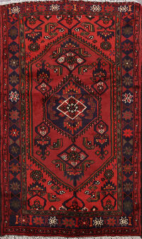 Tribal Geometric Hamedan Persian Area Rug 4x5