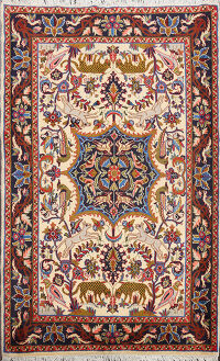 Animal Pictorial Bidjar Persian Area Rug 4x5