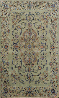 Antique Floral Kashan Persian Area Rug 5x7
