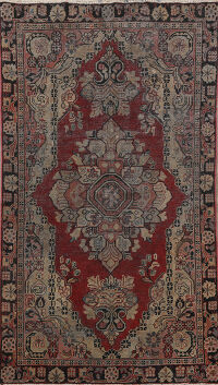 Pre-1900 Antique Mahal Persian Area Rug 4x6