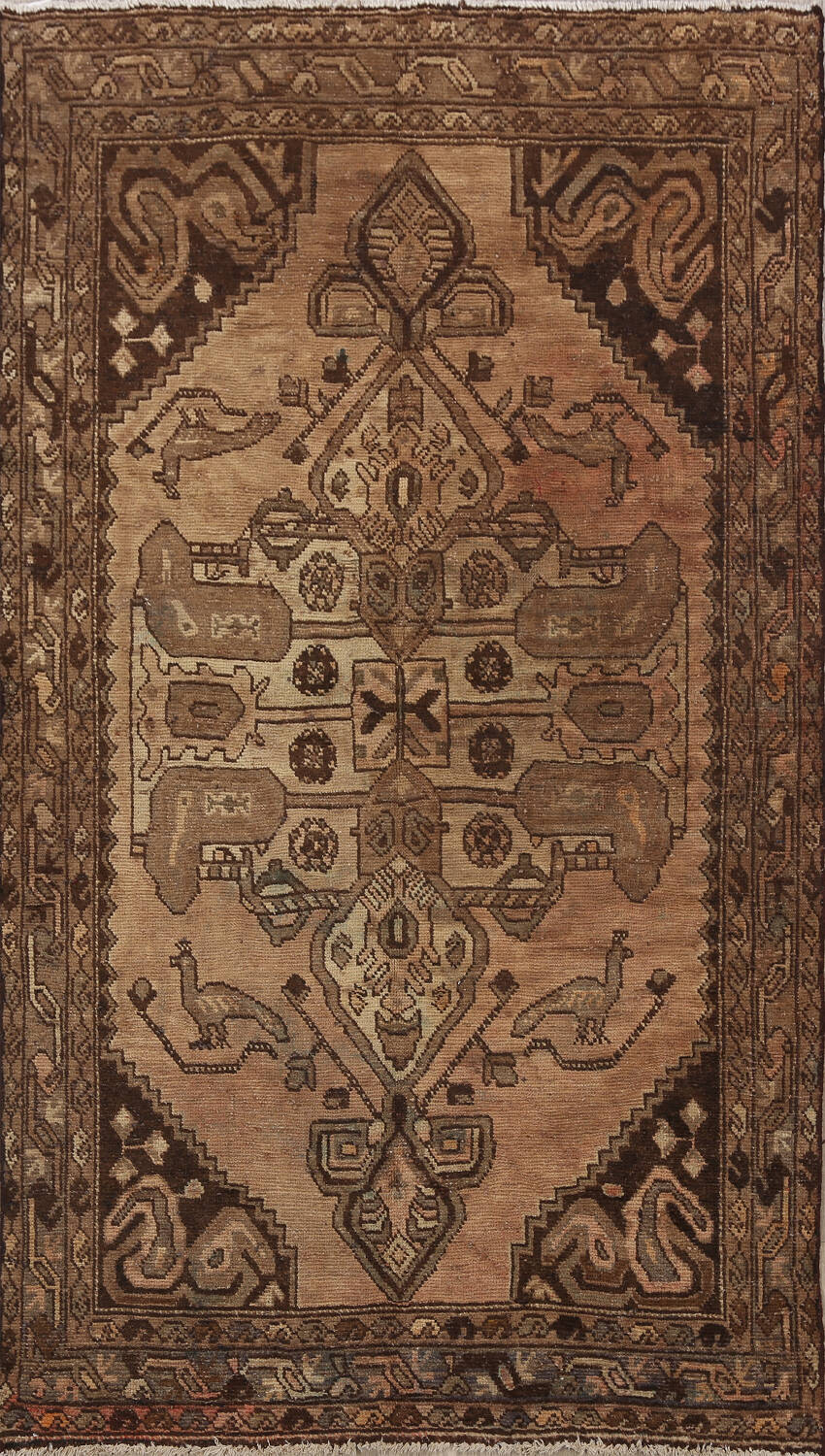 Antique Animal Pictorial Malayer Persian Area Rug 4x7 image 1