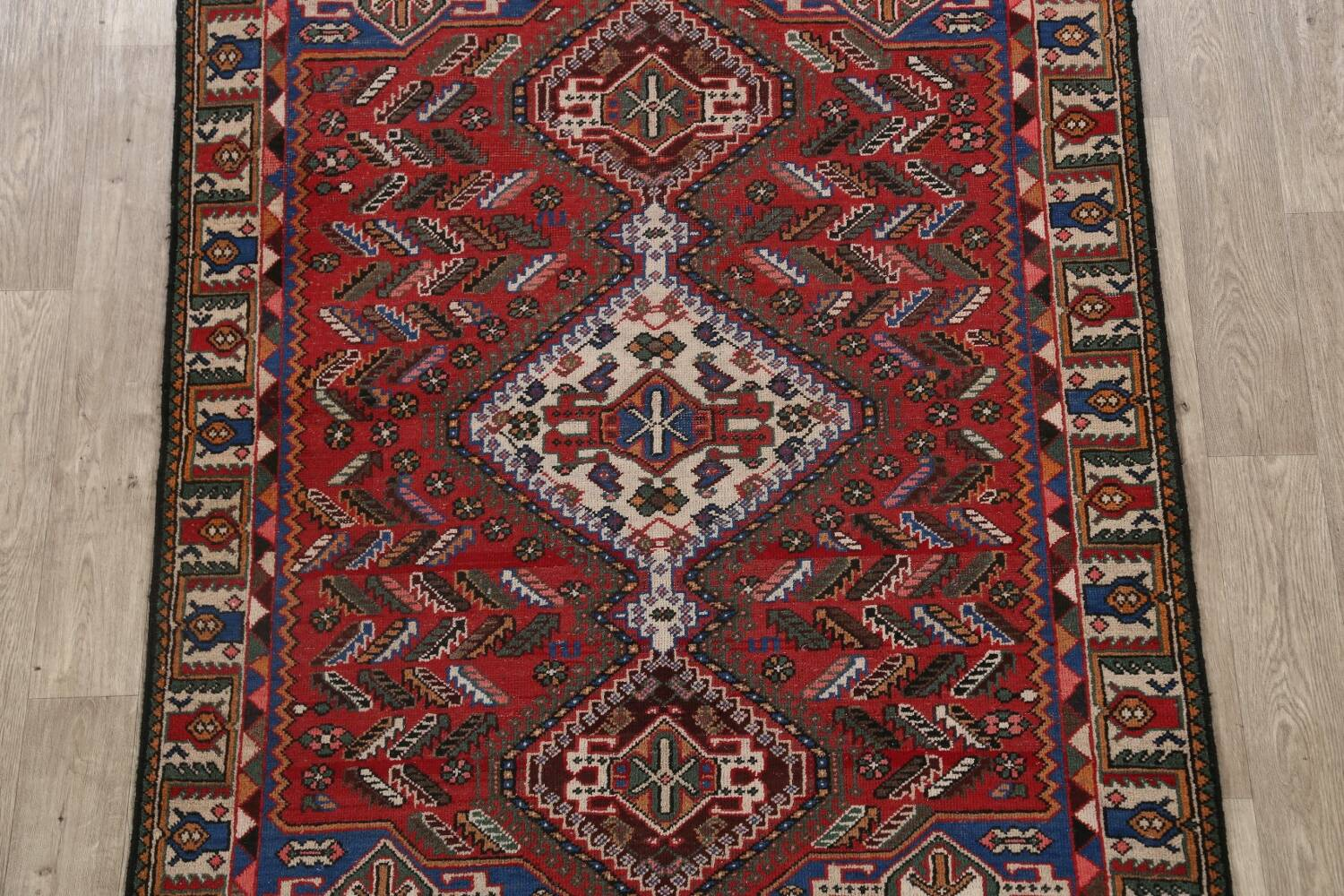 Antique Tribal Bakhtiari Persian Area Rug 5x6 image 3