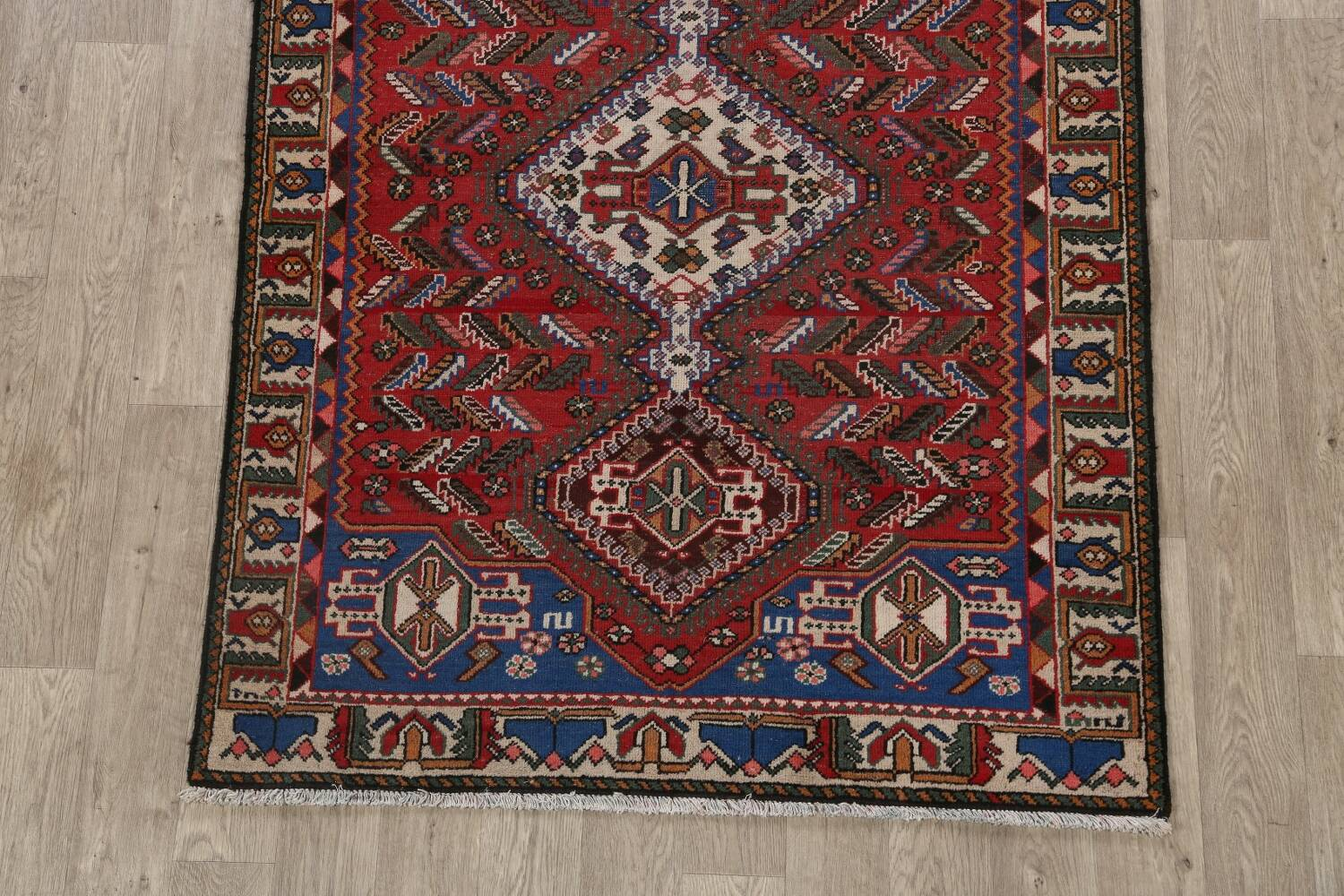 Antique Tribal Bakhtiari Persian Area Rug 5x6 image 8