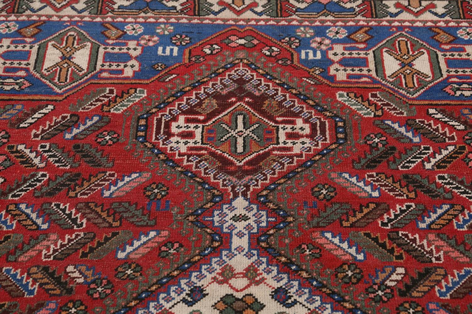 Antique Tribal Bakhtiari Persian Area Rug 5x6 image 12
