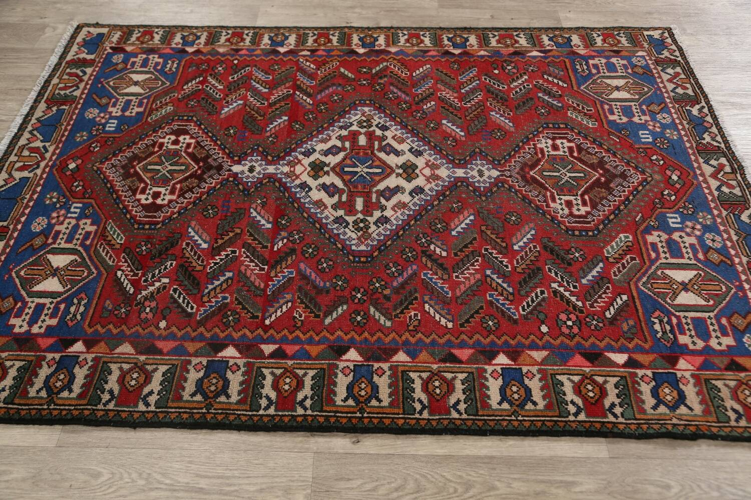 Antique Tribal Bakhtiari Persian Area Rug 5x6 image 16