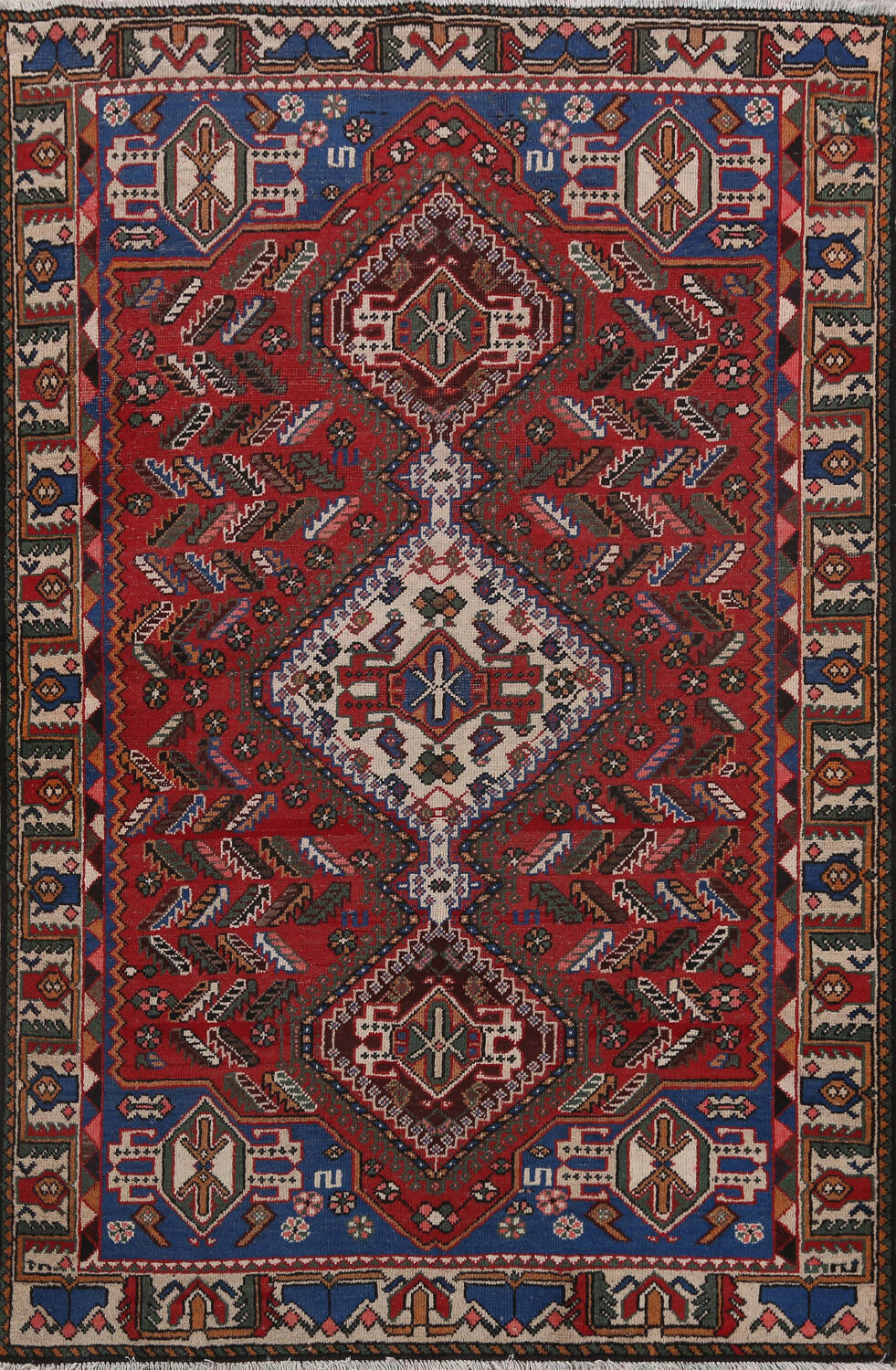 Antique Tribal Bakhtiari Persian Area Rug 5x6 image 1