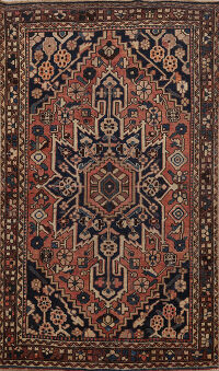 Antique Bakhtiari Persian Area Rug 4x6