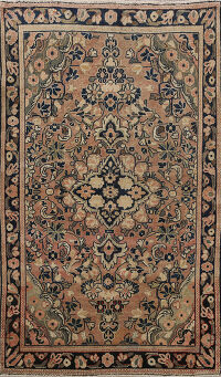 Antique Floral Sarouk Persian Area Rug 4x7