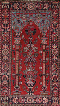 Antique Pictorial Kashan Persian Area Rug 4x6
