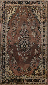 Pre-1900 Antique Floral Sarouk Persian Area Rug 4x6