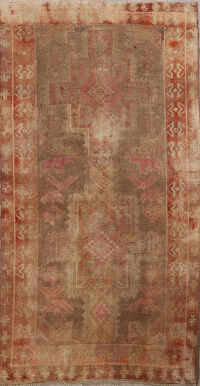 Antique Distressed Meshkin Persian Area Rug 4x6