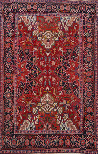 Antique 100% Vegetable Dye Heriz Serapi Persian Area Rug 5x6