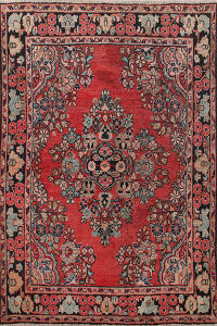 Antique Floral Sarouk Persian Area Rug 5x6