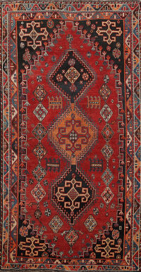 Antique Geometric Kashkoli Persian Area Rug 4x7