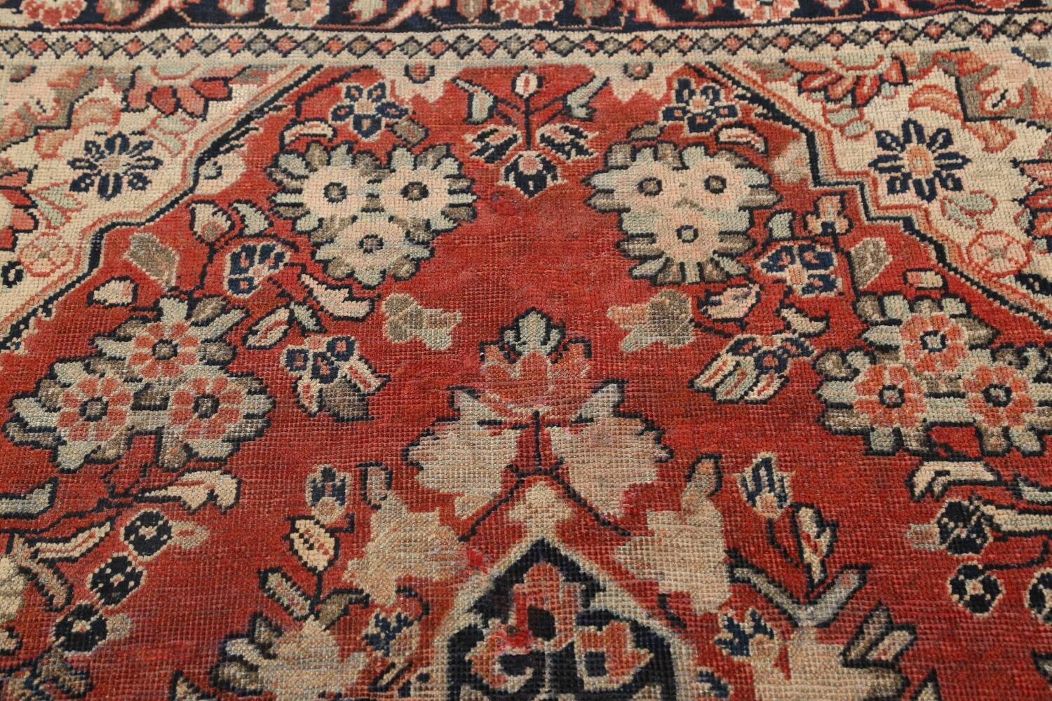 Antique Floral Mahal Persian Area Rug 4x7 image 10