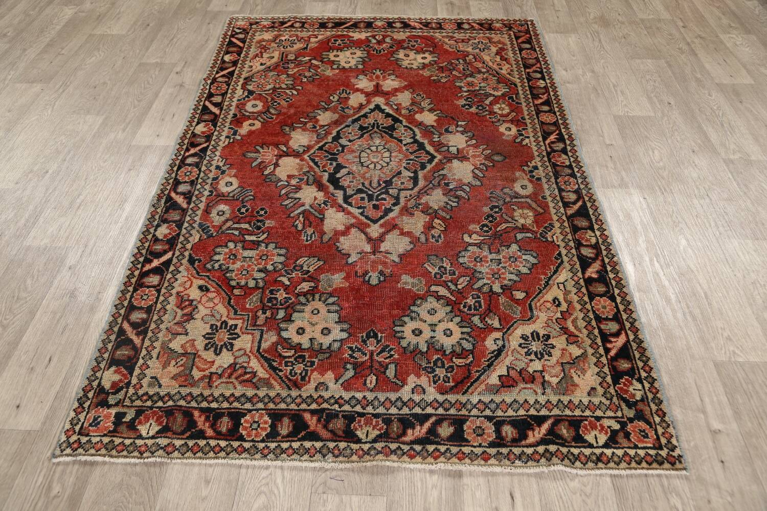 Antique Floral Mahal Persian Area Rug 4x7 image 15