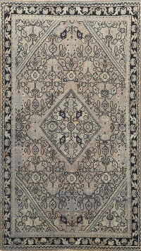 Pre-1900 Antique Vegetable Dye Mahal Persian Area Rug 4x7