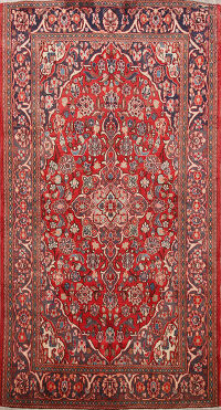 Floral Kashan Persian Area Rug 4x7