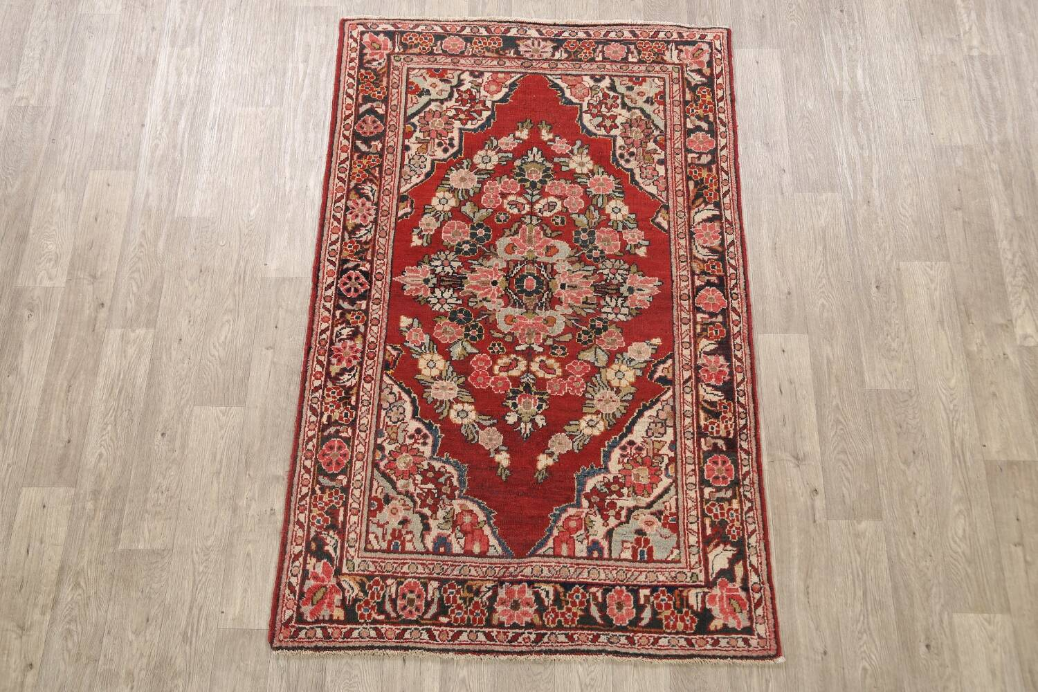 Antique Floral Mahal Persian Area Rug 4x7 image 2