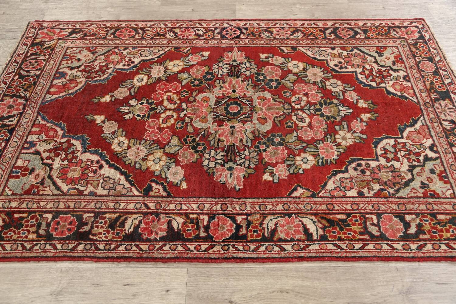 Antique Floral Mahal Persian Area Rug 4x7 image 14
