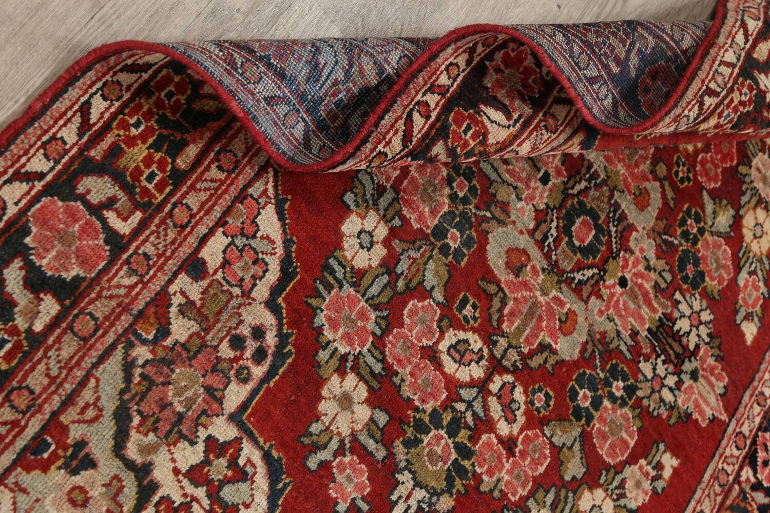 Antique Floral Mahal Persian Area Rug 4x7 image 17