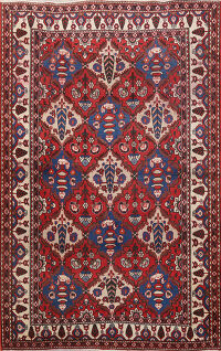 Antique Garden Design Bakhtiari Persian Area Rug 5x7