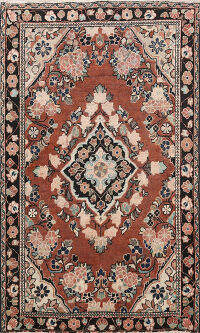 Antique Floral Mahal Persian Area Rug 4x6