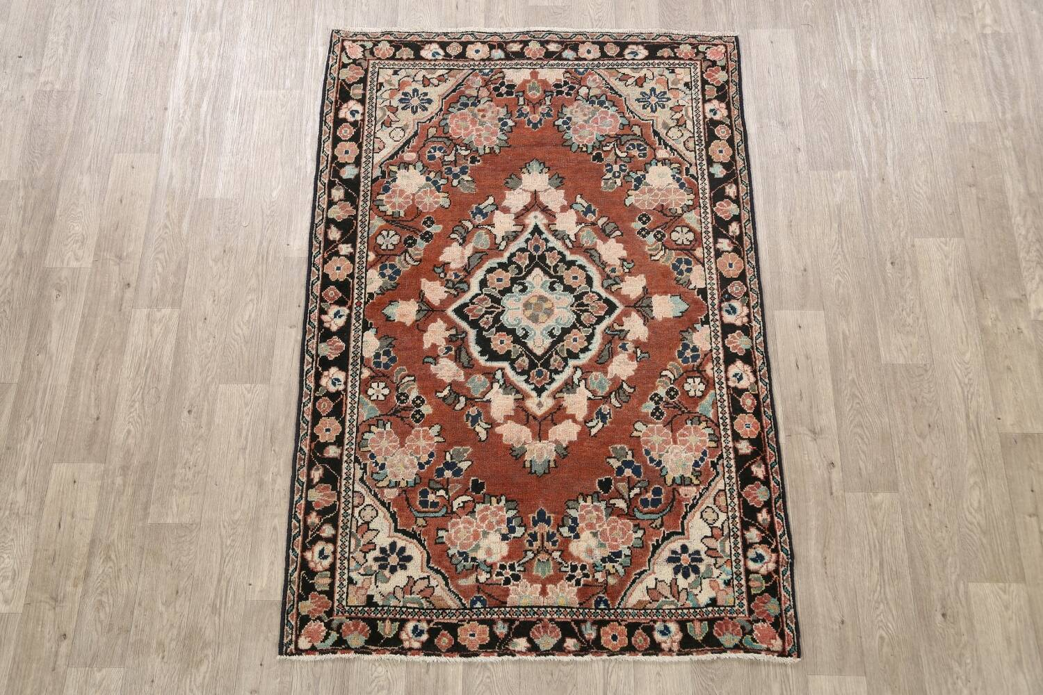 Antique Floral Mahal Persian Area Rug 4x6 image 2