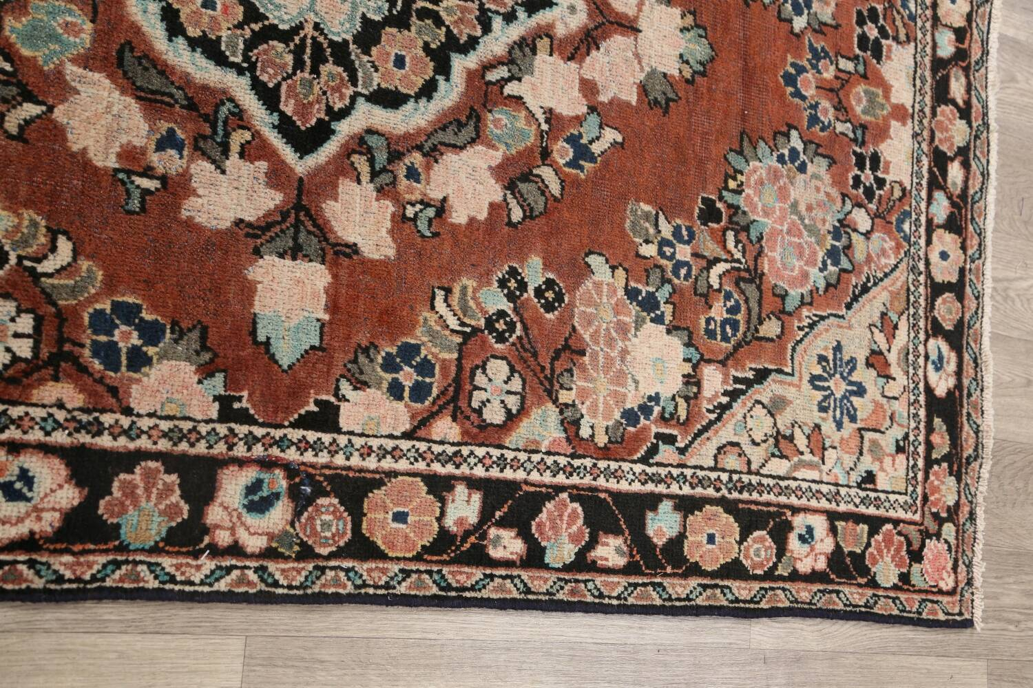 Antique Floral Mahal Persian Area Rug 4x6 image 12