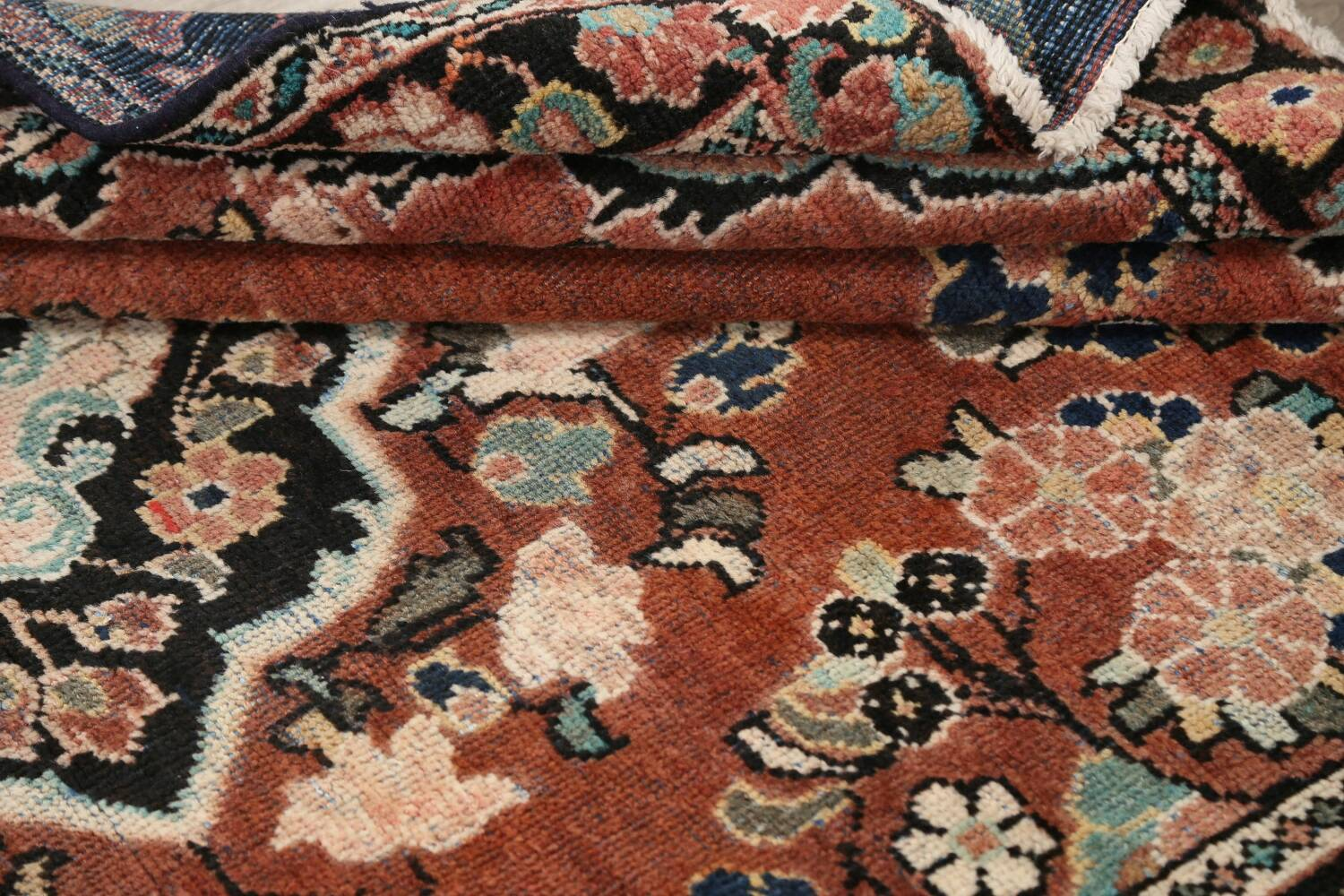 Antique Floral Mahal Persian Area Rug 4x6 image 15