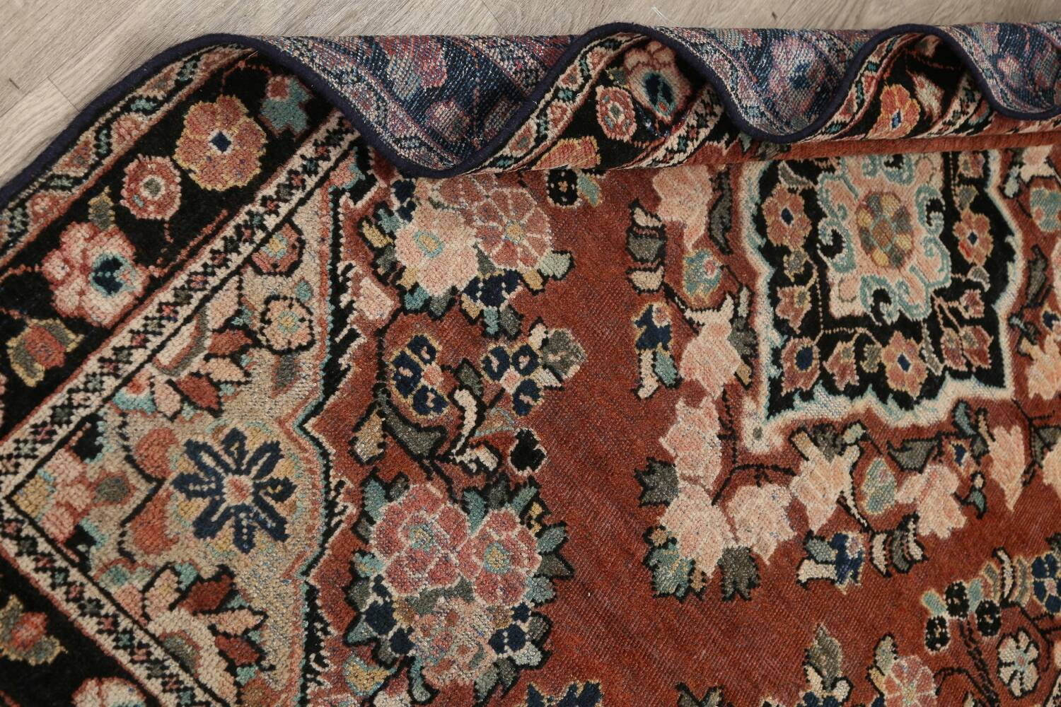 Antique Floral Mahal Persian Area Rug 4x6 image 16