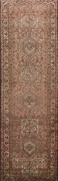 Antique Geometric Gharajeh Persian Runner Rug 3x10