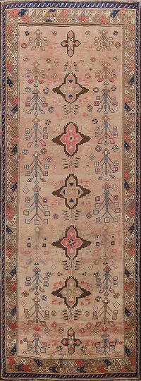 Antique Vegetable Dye Sultanabad Persian Runner Rug 4x9