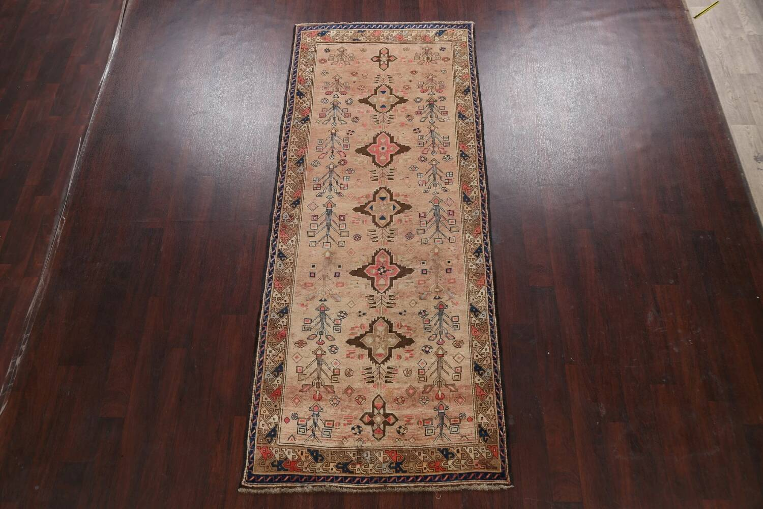 Antique Vegetable Dye Sultanabad Persian Runner Rug 4x9 image 2