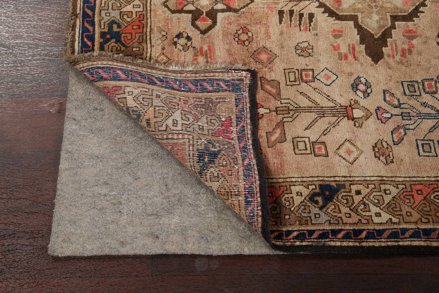 Antique Vegetable Dye Sultanabad Persian Runner Rug 4x9 image 7
