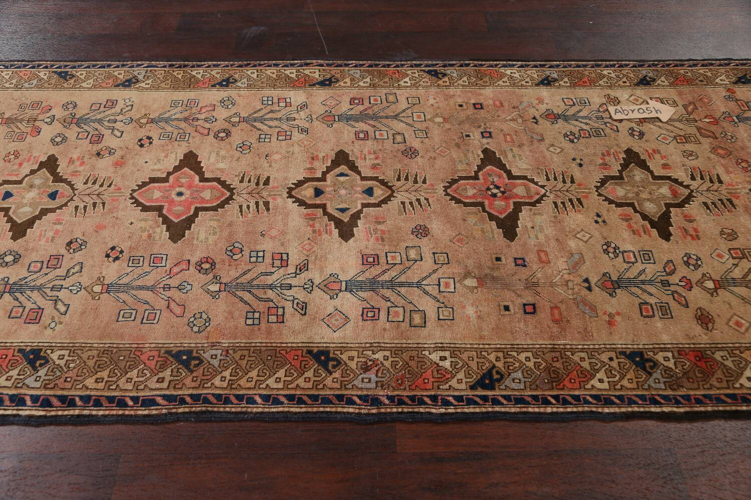 Antique Vegetable Dye Sultanabad Persian Runner Rug 4x9 image 13