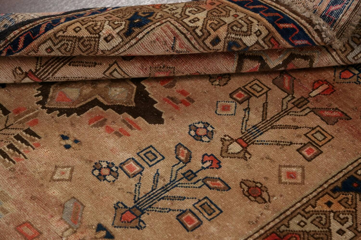 Antique Vegetable Dye Sultanabad Persian Runner Rug 4x9 image 19