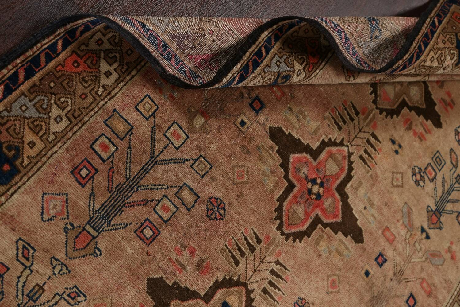 Antique Vegetable Dye Sultanabad Persian Runner Rug 4x9 image 20