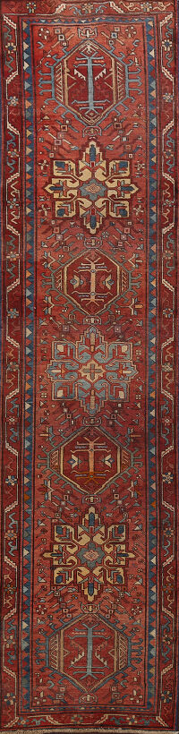 Antique Vegetable Dye Heriz Serapi Persian Runner Rug 3x11