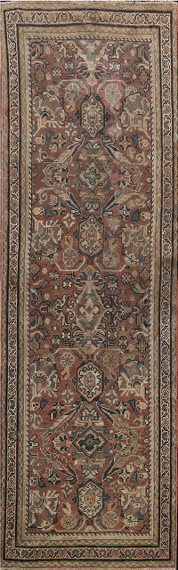 Pre-1900 Antique Mahal Persian Runner Rug 4x10