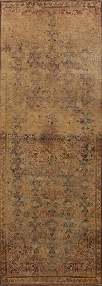 Antique Distressed Ardebil Persian Runner Rug 4x9
